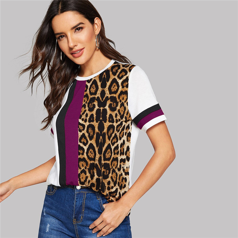 Block Cut-and-Sew Leopard Panel Top Short Sleeve O-Neck Casual T Shirt 94
