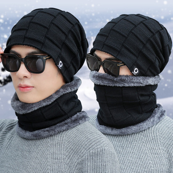 Hot Selling 2pcs Ski Cap And Scarf Cold Warm Leather Winter Hat For Women Men Knitted Hat Bonnet Warm Cap Skullies Beanies [head bee] brand beanies hat cotton adult cartoon ear winter cap warm lady knitted hat 2017 women bonnet hat