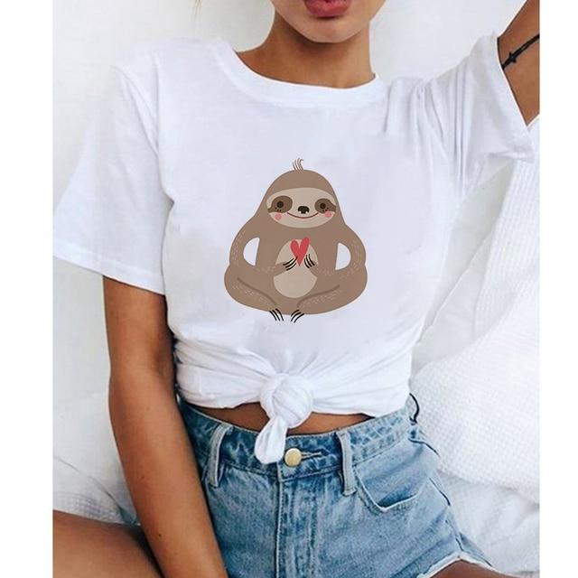 Animal Vintage t Shirts Flirty Sloth Cartoon Spandex Top Small