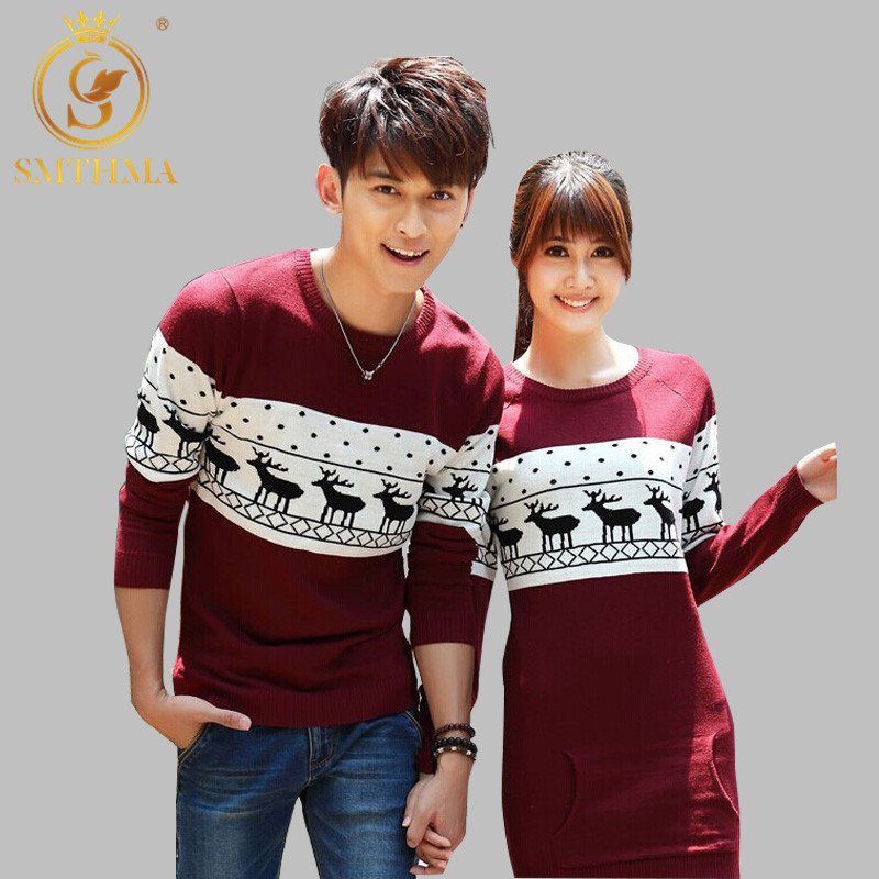 SMTHMA 2019 Autumn And Winter Men's /Women Long Sleeve Wine Red Pullovers Matching Deer Couple Christmas New Year Sweaters Dress