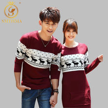 SMTHMA 2019 Autumn And Winter Men's /Women long sleeve Wine red pullovers matching deer couple christmas New Year sweaters Dress(China)
