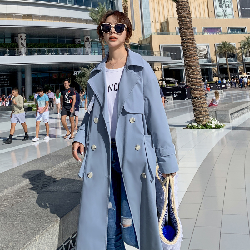 2019Trench coat oversize long   trench   korean   trench   coat for women loose slim casual r over the knee coat sky blue color