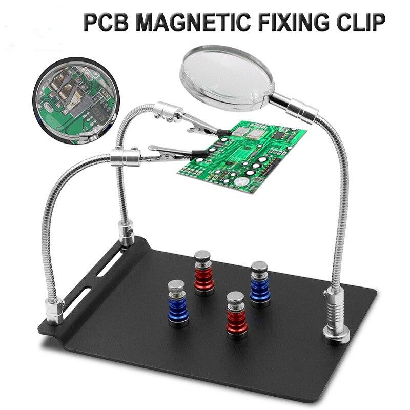 Flexível de Solda Ferro de Solda de Vidro Placa Magnética Clipe Fixo Braço Terceira Mão Lupa Titular Ferramentas Reparo Pcb