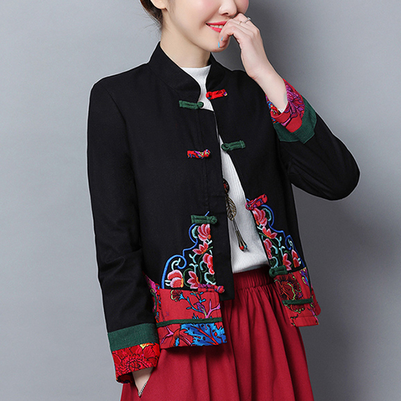 Womens Chinese style embroidery dress Coat cotton Linen Mid length Jacket L-6XL