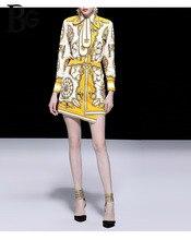 Baogarret Womens Spring Summer Runway Skirt Suit Female luxury Crystal Beading Vintage Gold Print Office Lady Two Piece Set
