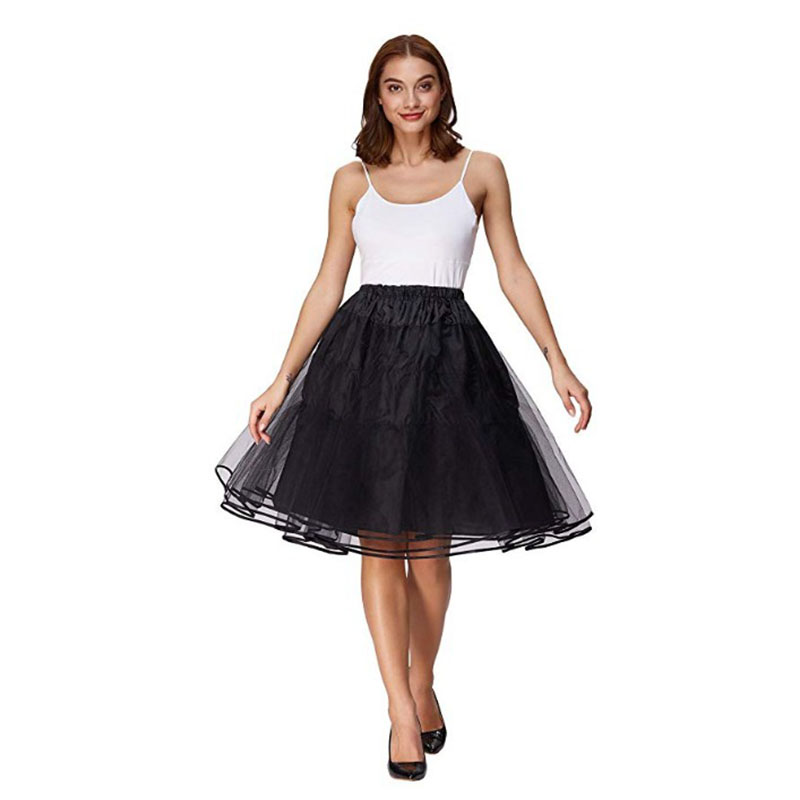 Lady Yellow Swing Rockabilly Skirt Party Prom Dancing Lolita Underskirt Double Layers Solid Color Short Tulle Petticoats
