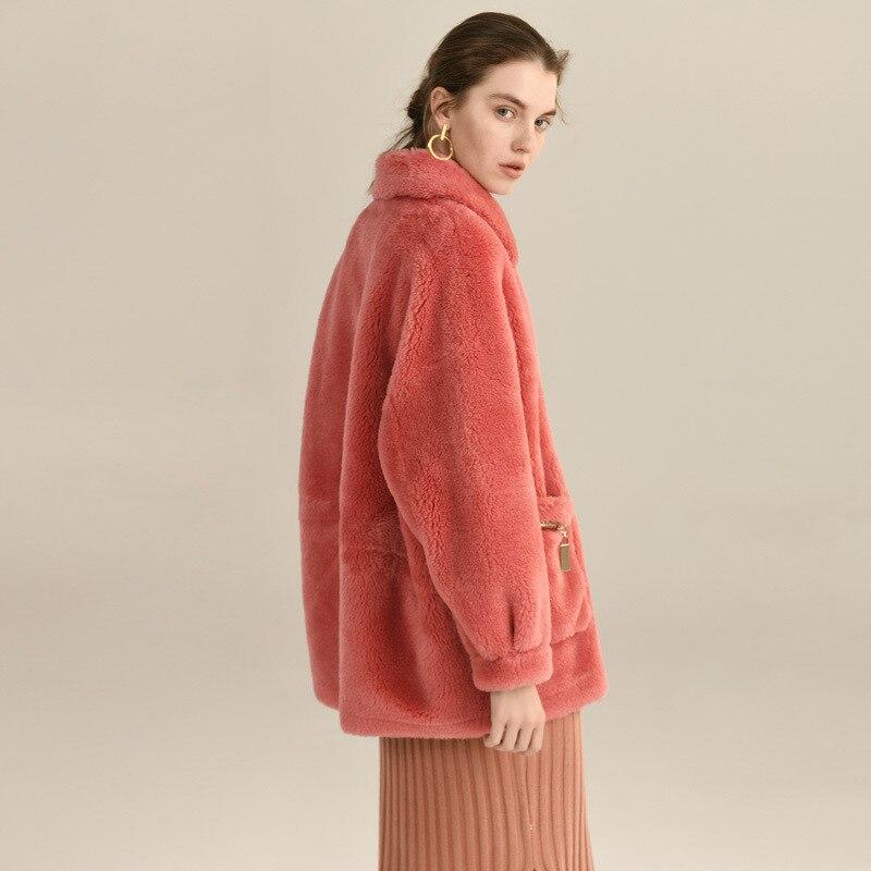 Winter Coat Women 100% Real Fur Coat Female Clothes 2020 Thick Warm Sheep Shearing Jacket Ladies Natural Fur Coats 19029