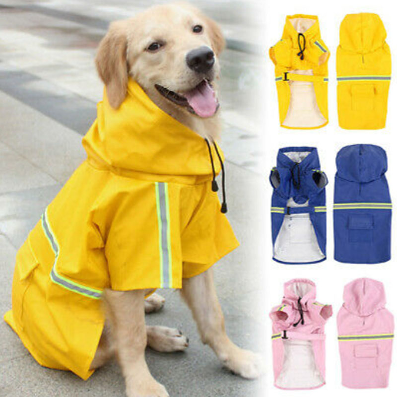 Dog Raincoat Reflective Puppy Rain Coat With Hood Reflective Waterproof Dog Clothes Soft Breathable Pet Cat Small Dog Rainwear
