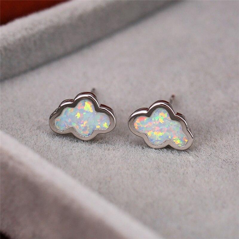 Simple Female Blue Opal Stone Earrings Elegant Silver Color Stud Earring Cute Clouds Small Wedding Earrings For Women
