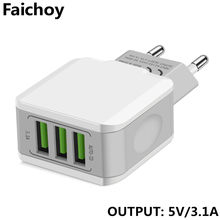 โทรศัพท์ 5 V/3.1A EU Plug Travel Wall Charger Fast ชาร์จ Dual 2/3 พอร์ต USB Charger สำหรับ iPhone iPad Samsung Xiaomi Huawei(China)