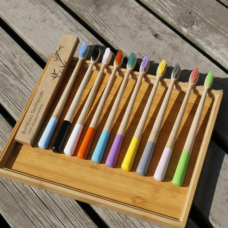 10 Colors Hot Colorful Toothbrush Natural Pure Bamboo Toothbrush Tapered Bamboo Handle Soft Bristle Toothbrush Adult Toothbrush image