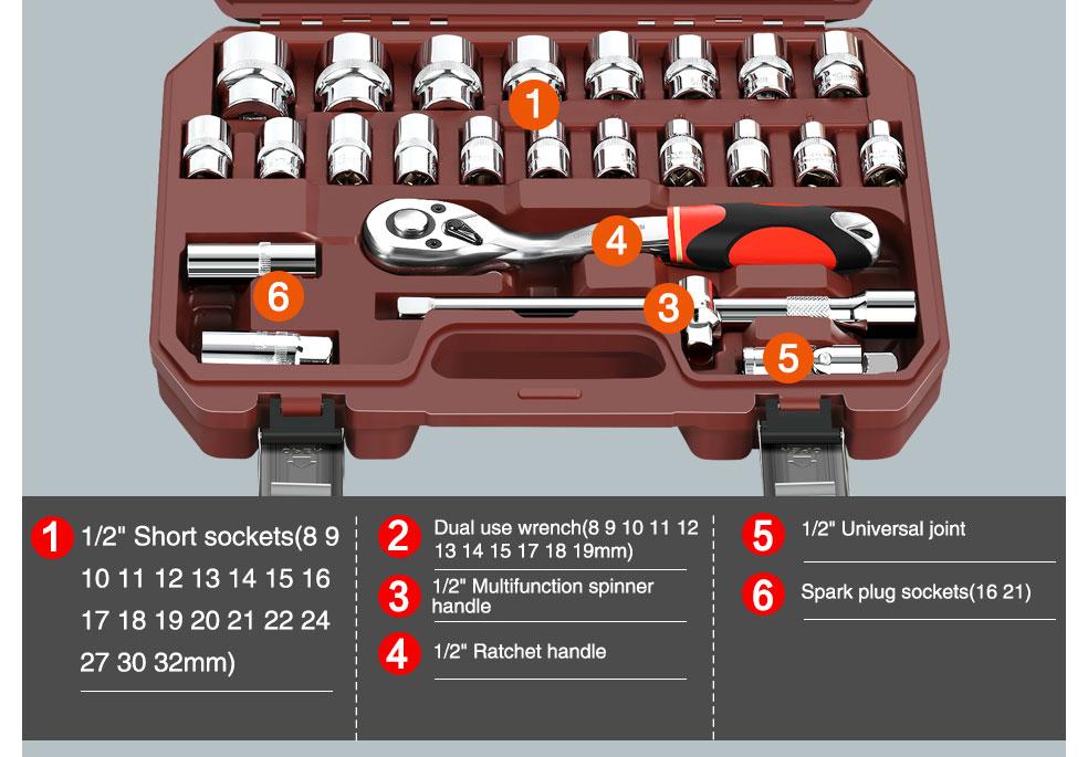 AI-ROAD Household Multifunction Car Repair Tool Kit Home 37 sets part 2