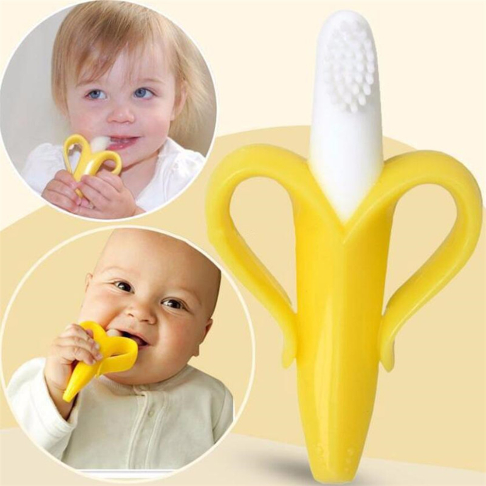 High Quality Silicone Toothbrush And Environmentally Safe Baby Teether Teething Ring Kids Teether Children Chewing image