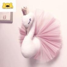 Wall Plush Animal Swan Head Decor Flamingo Wall Hanging Mount Stuffed Toy Princess Girl Baby Kid Gift Nursery Room Wall Decor