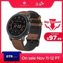 Amazfit GTR-smartwatch globalna wersja wodoodporny 5 ATM skórzany silikonowy pasek 47 mm 24 dni sterowanie muzyką tanie tanio CN (pochodzenie) Brak Na nadgarstku Wszystko kompatybilny 128 MB Passometer Fitness tracker Wiadomość przypomnienie