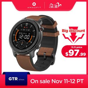 Image 1 - Global Version Amazfit GTR 47mm Smart Watch 5ATM Waterproof Smartwatch 24 Days Battery Music Control Leather Silicon Strap