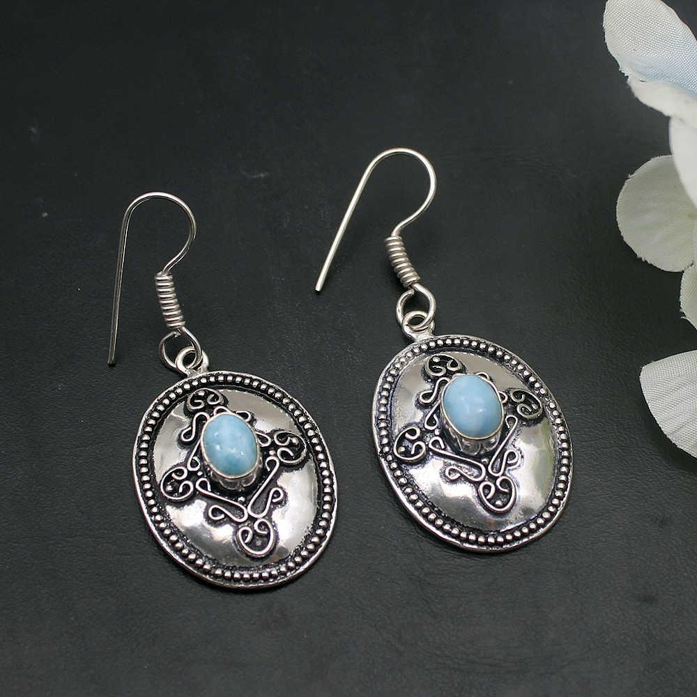 Hermosa Adorable único azul Natural Larimar 925 pendientes de plata de ley para mujeres joyería de moda 1 7/8 pulgadas A762