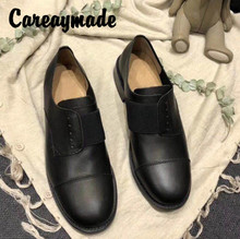 Careaymade-Spring new Genuine leather round-headed retro womens literary and artistic low-heeled popular casual shoes