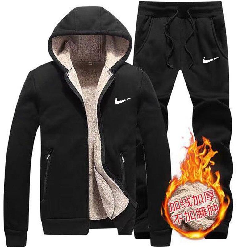 Winter Lamb Cashmere Tracksuit Men Zipper Hoodie+pants Windproof Sportswear Set Men Plus Thick Warm Sports Suit 6XL Black Jacket