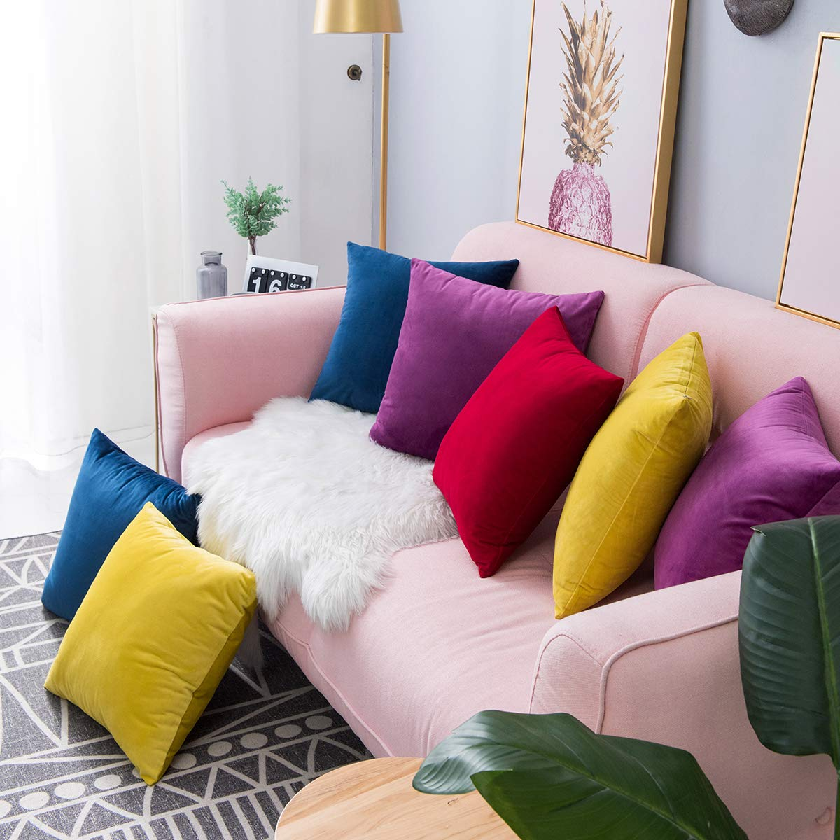 2020 Luxury Soft Velvet Cushion Cover For Living Room Sofa Cushion Set Solid Color Pillowcase Cushion Cover Pillow Cover 40x40cm