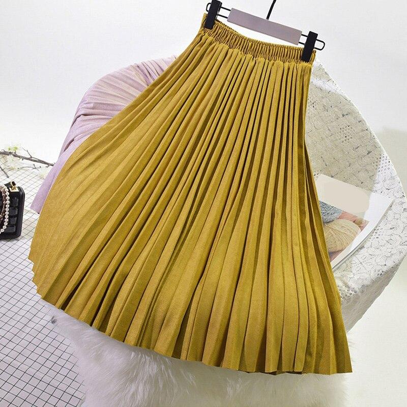 2019 Autumn Winter Women Suede Velvet Skirt Long Pleated Skirts Womens Saias Midi Faldas Vintage Women Midi Skirt