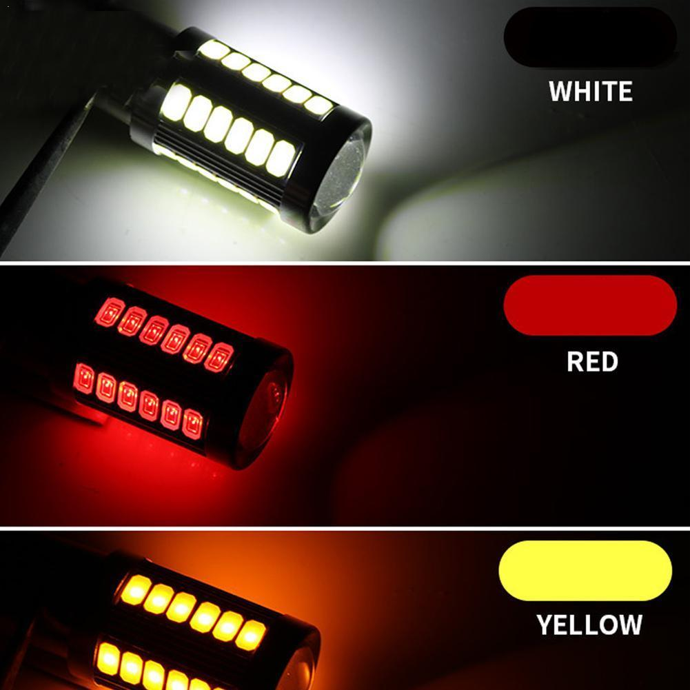 1pc 1156 <font><b>P21W</b></font> BA15S 33 SMD 5630 5730 <font><b>LED</b></font> Car Backup Brake Running White Orange <font><b>Amber</b></font> Light Bulb Daytime Motor Reserve L Red W5S5 image