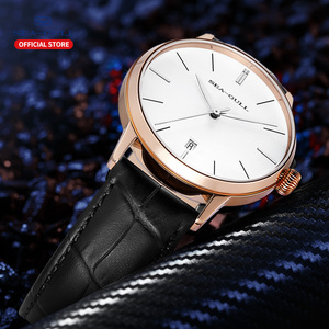 Image 5 - 2020 Чайка новые мужские часы бизнес простые автоматические механические часы кожаный ремень календарь Сапфир Мужские часы 519.12.6021