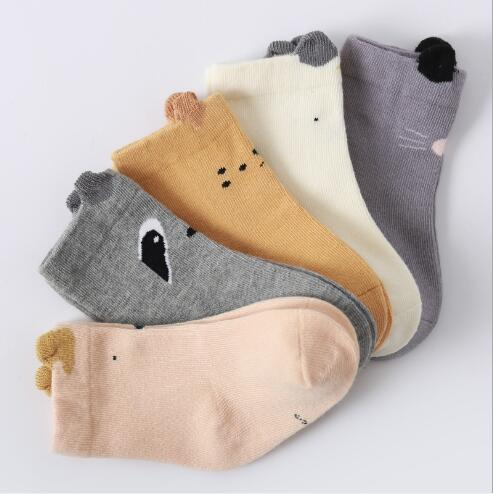 5pairs Pack Autumn And Winter New Baby Socks Three-dimensional Ear Baby Cartoon Cute Newborn Socks 0-1-3 Years Old