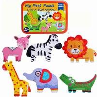 6PCS קריקטורה בעלי החיים תינוק עץ פאזלים צעצועי ילדי מונטסורי 3D פאזל קלאסי צעצוע חינוכי חידות משלוח חינם