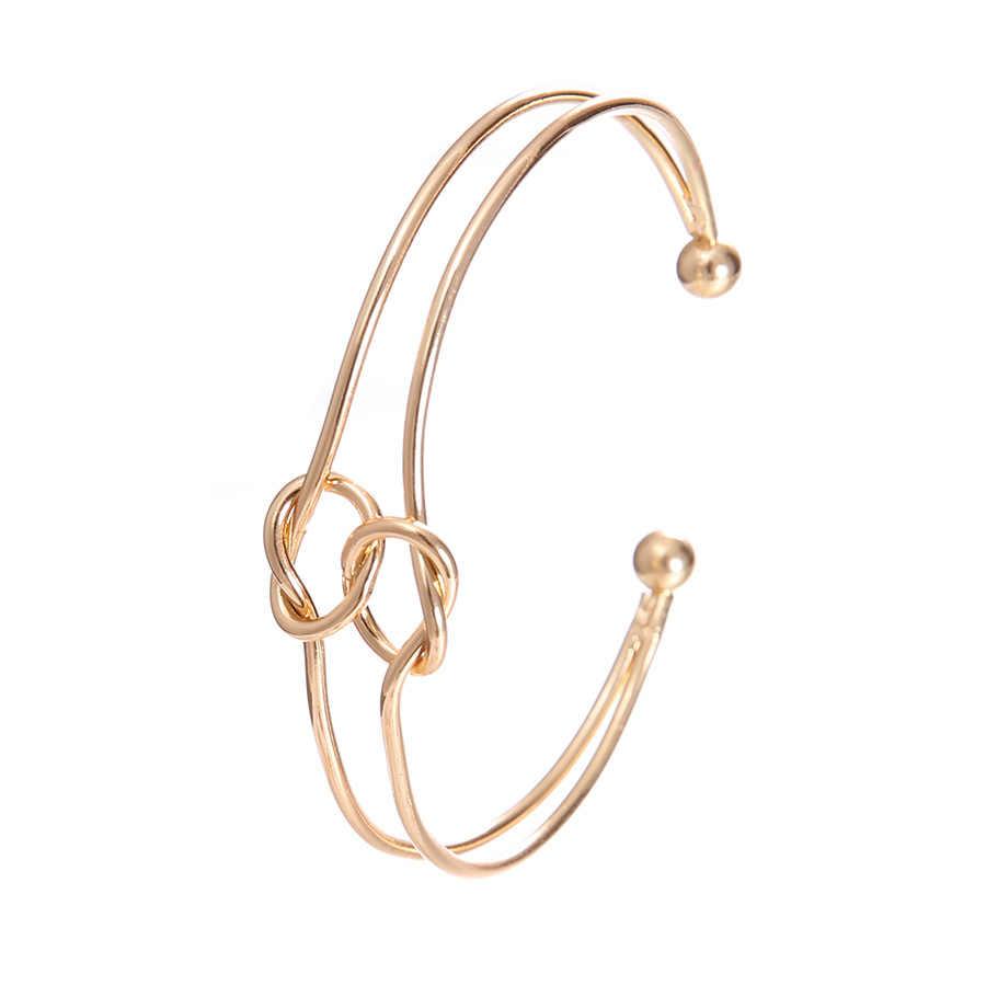 3 ชิ้น/เซ็ตแฟชั่นสร้อยข้อมือคู่ Knot LOOP โลหะสร้อยข้อมือเครื่องประดับสำหรับผู้หญิง
