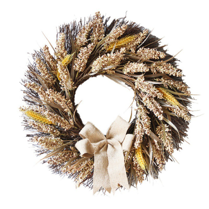 Artificial Grain Wreath With Bowknot Fall Harvest Garland For Front Door And Thanksgiving Holiday Decorative Ornament
