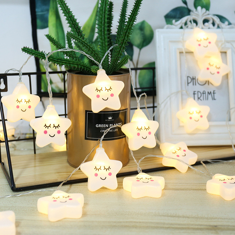 1.5M 3M LED Smiley Cloud Star Fairy Garland String Lights Novelty For Christmas Wedding Home Indoor Decoration Battery Powered