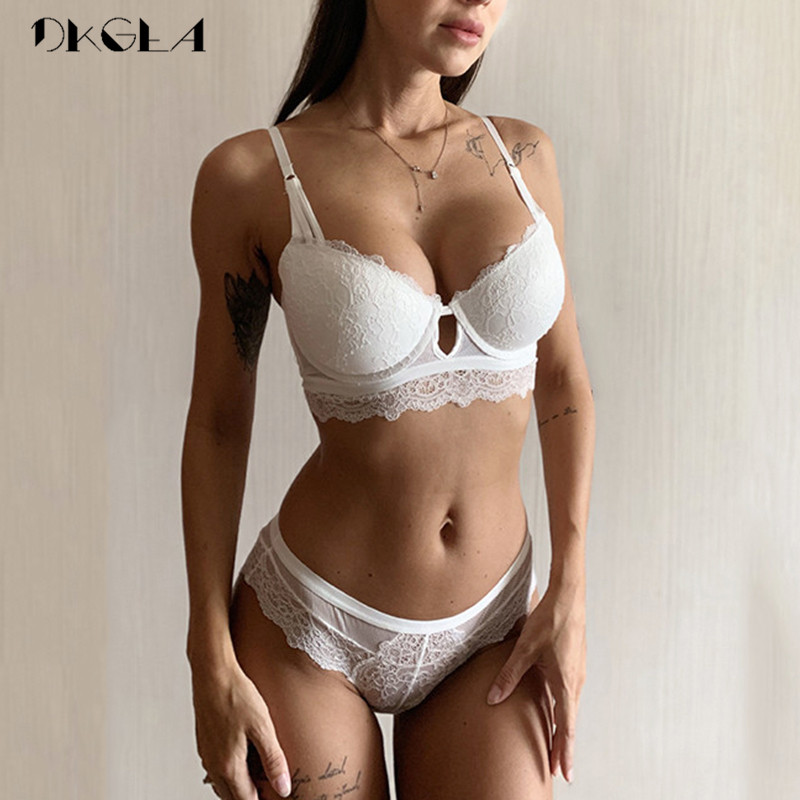 New Green Lace Bra And Panties Sets Push Up Brassiere B C Cup Sexy Underwear Set Cotton Thick Bras Embroidery Women Lingerie Set