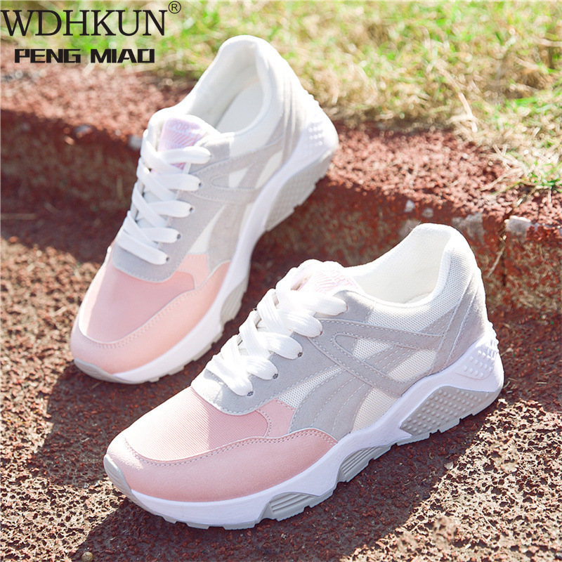 Women Sneakers Breathable Outdoor Walking Shoes Woman Mesh Casual Shoes Pink Lace-Up Ladies Shoes 20