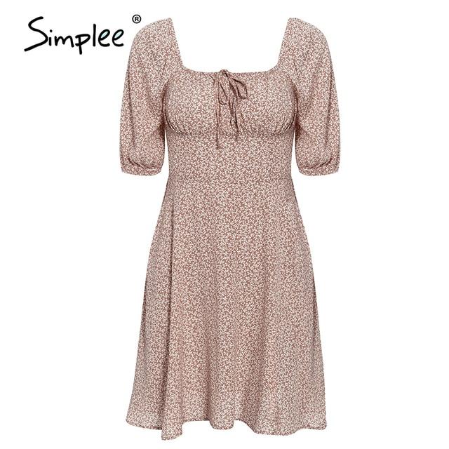 Simple Elegant square collar summer chiffon ruffled boho dress  6