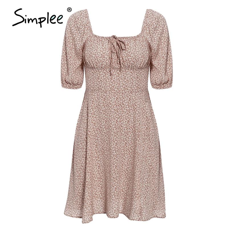 Simplee Elegant square collar summer chiffon dresses Casual beach women vintage ruffles boho dress robe femme dresses vestidos 5