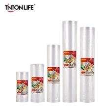 Кухонные пакеты TINTON LIFE, пакеты для хранения еды и вакуумной упаковки, 5 рулонов в упаковке, 12+15+20+25+28 см *500 см