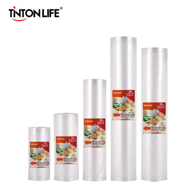 Tinton生活の台所食品真空バッグ保存袋真空シーラー食品新鮮なロング維持 12 + 15 + 20 + 25 + 28 センチメートル * 500 センチメートル 5 rolls/ロット