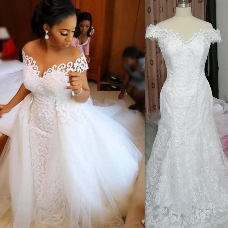 Cheer 2 In 1 African Mermaid Wedding Dresses 2020 Full Lace Applique Bridal Gowns  With Detachable Train