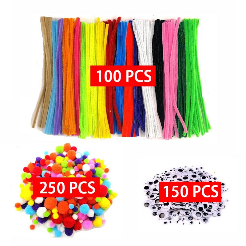 500pcs Plush Stick / Pompoms Rainbow Colors Shilly Stick Educational DIY Toys Handmade Art Craft Creativity Devoloping Toys