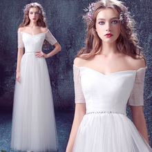 New Arrival Elegant White Bridesmaid Dresses 2019 Long A lin
