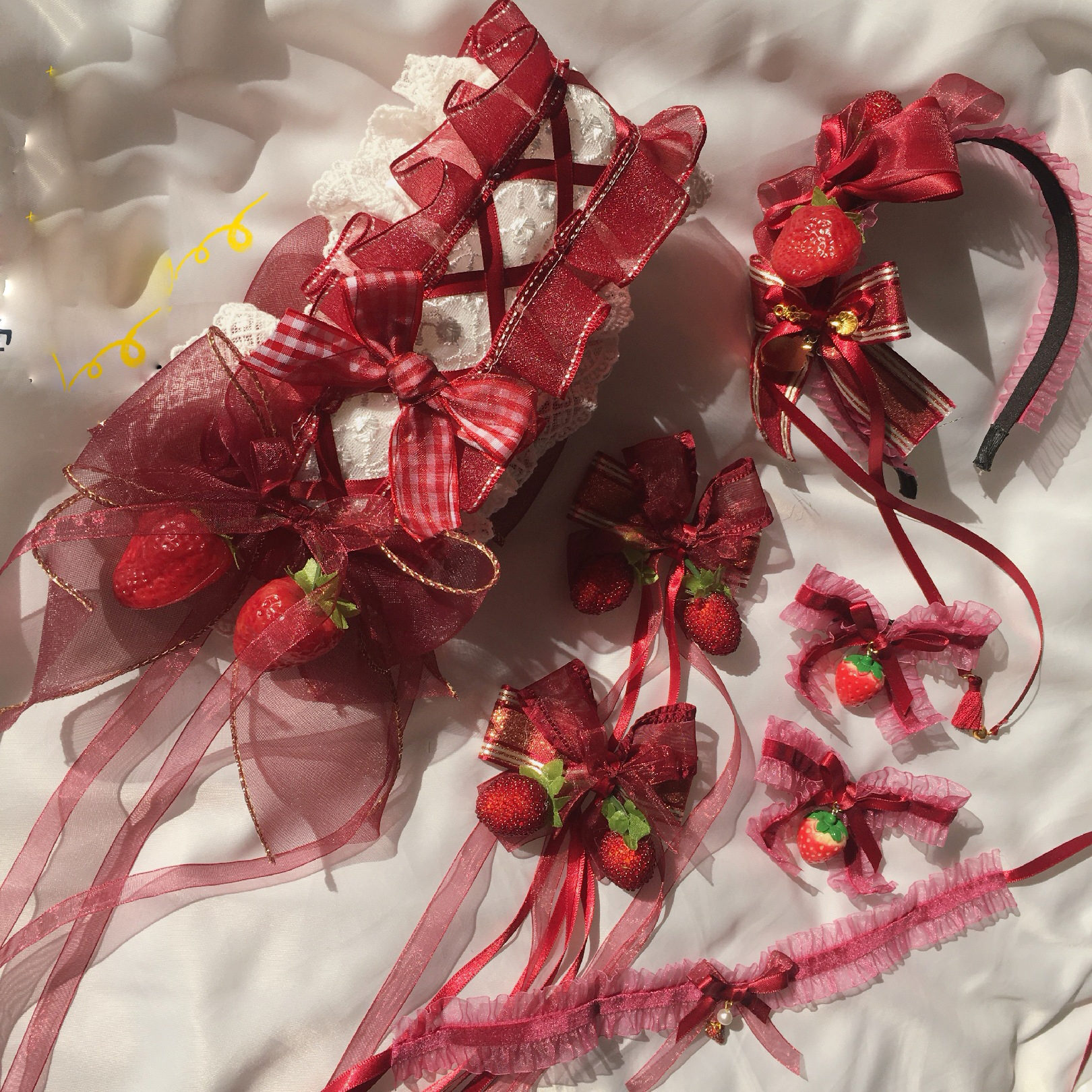 Sweet Lovely Lolita Strawberry Jam KC Hair Pin Soft Girl Japanese Bow Lace KC Headband Headwear Side Clip Hair Accessories