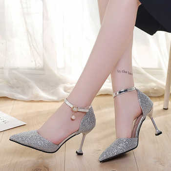 Fashion Buckle Crystal Bling Pumps Women Elegant Thin High Heel Point toe Party Wedding Shoes Woman Stiletto Sexy Bridal Sandals - DISCOUNT ITEM  42 OFF Shoes