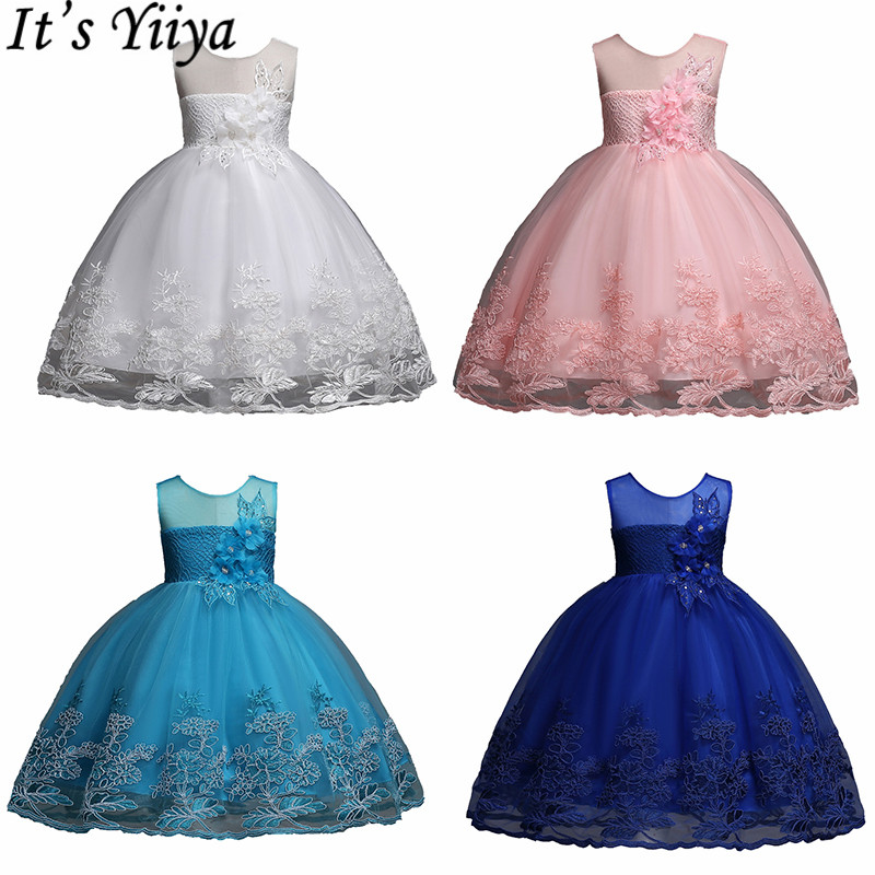 It's YiiYa   Flower     Girl     Dresses   6 Colors Sleeveless O-Neck Sashes   Girls   Pageant   Dresses   Fashion Elegant Kids Party Ball Gown 1026