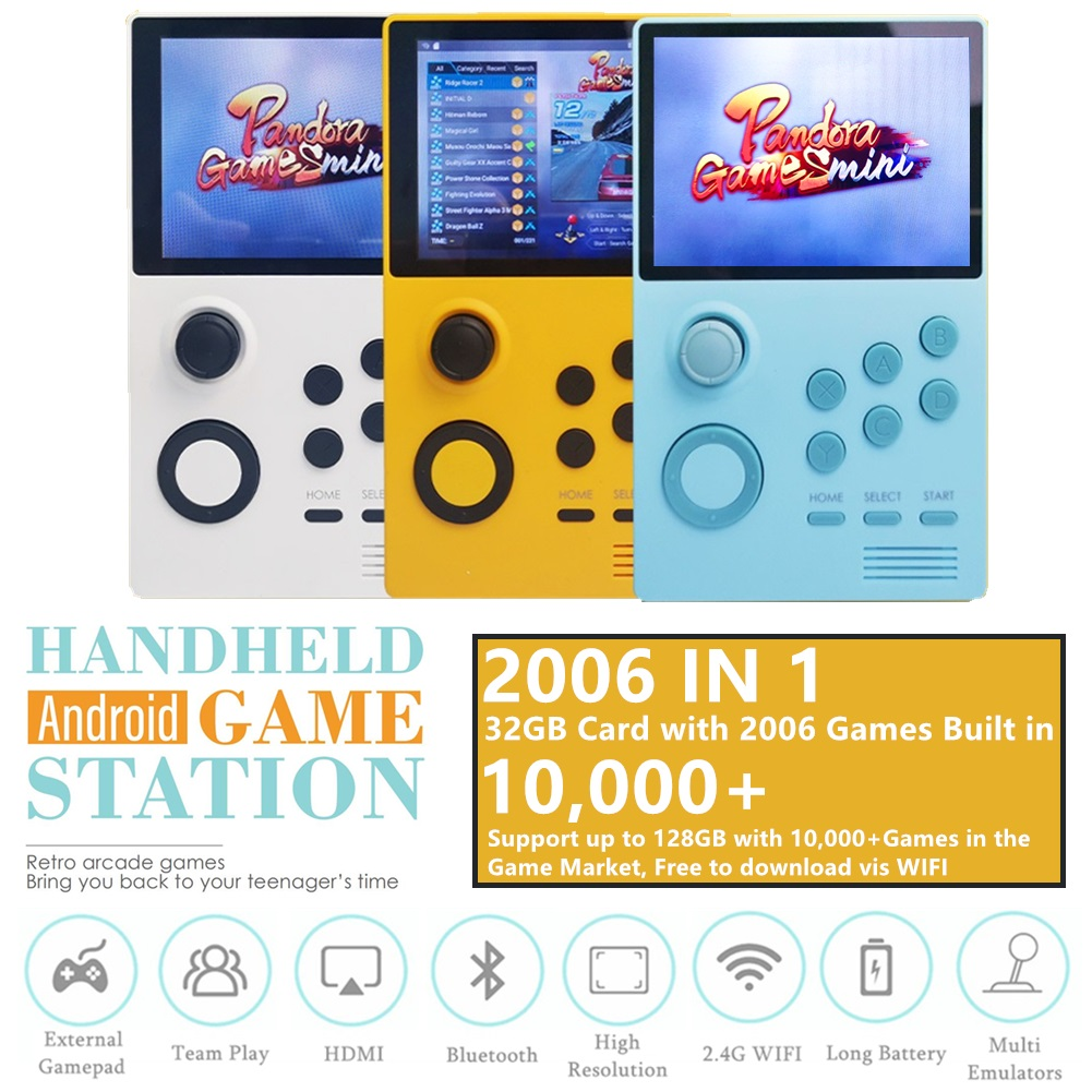 New Handheld Android Retro Arcade Game Console Pandora's Box Mini 2006 IN 1 Arcade PSP DC N64 Mame FC GBC FBA WSC PCE MD