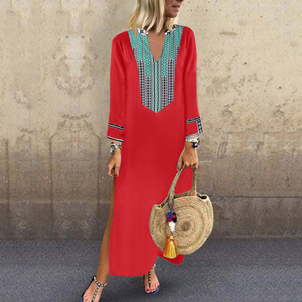 Floral Print Maxi Long <font><b>Dresses</b></font> <font><b>4xl</b></font> 5xl Plus Size Long Sleeve <font><b>Dress</b></font> Cotton Linen Loose Kaftan Winter Autumn <font><b>Dress</b></font> Vestido image