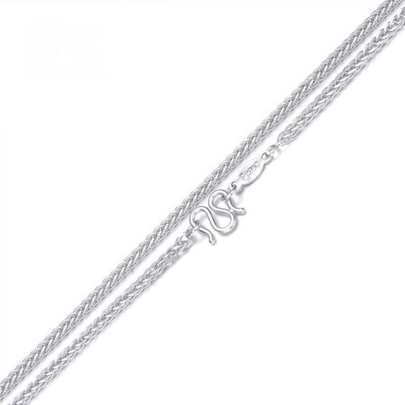 Real Platinum 950 Necklace Lucky For Women Wheat Chain Link New Gift 16inch 18inch