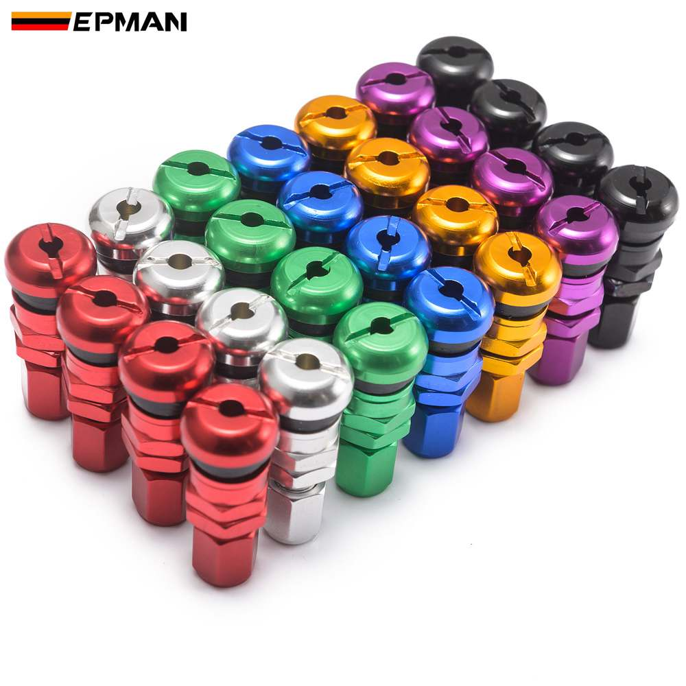 EPMAN 4pcs Universal Cone Shaped Car Wheel Tyre Air Wheel Valve Stem Caps Aluminium Dustproof Cover EPQMZ06