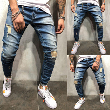 цена на Men's Jeans Skinny Slim Fit Straight Ripped Distressed Pleated Knee Hole Denim Pants 2019 Summer Dark Blue Stretch Pencil Jeans