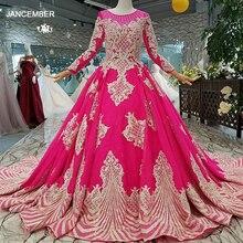 LS710455 magenta vestidos de fiesta de boda de manga larga de cuello redondo de encaje de espalda de la madre de las novias vestido graduación económico